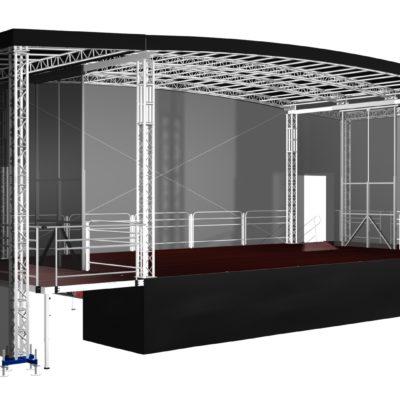 mobilní podium 10x8 s přípravnami