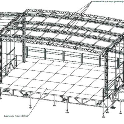 mobilní podium 10x8 varianta s přípravnami a podiem